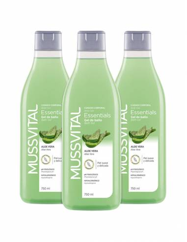 MUSSVITAL ESSENTIALS GEL DE BAÑO ALOE VERA 3 X 750 ML