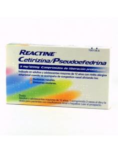 REACTINE CETIRIZINA/PSEUDOEFEDRINA 5/120 MG 14 COMPRIMIDOS
