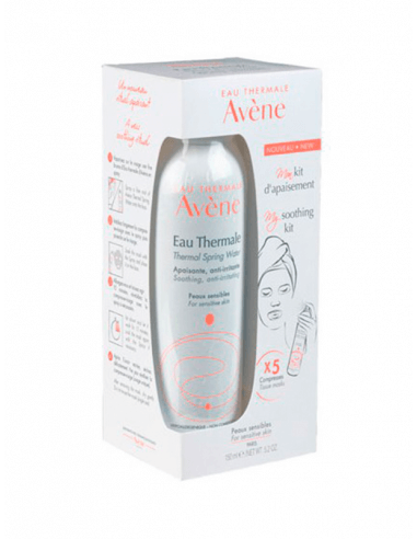 AVÈNE AGUA TERMAL CALMANTE 150 ML + 5 MASCARILLAS FACIALES KIT