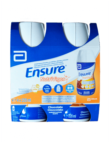 ENSURE NUTRIVIGOR BOTELLA SABOR CHOCOLATE 4 X 220 ML